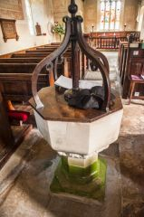 Sherrington, St Cosmas & St Damian Church, The plain medieval font