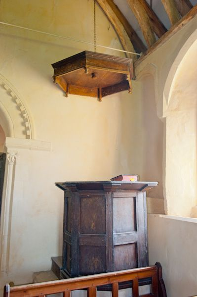 Shorncote, All Saints Church photo, Georgian pulpit and sounding board