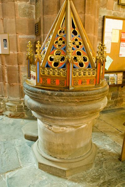 Shrewsbury Abbey photo, Font