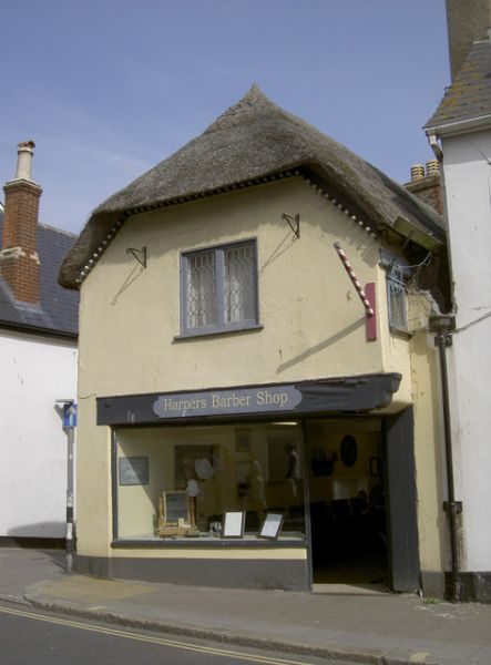 Sidmouth photo, A thatched barber shop (c) Neil Owen