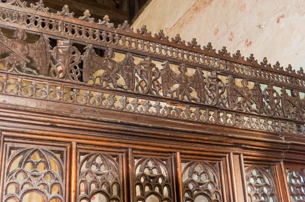 Silchester, St Mary's Church photo, 15th century wooden screen