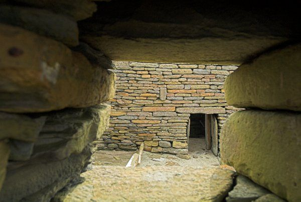 Skara Brae Prehistoric Village photo, Looking through a hut window
