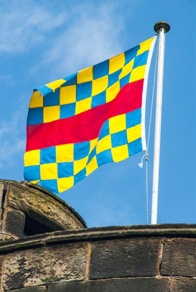 Skipton Castle photo, Clifford family banner
