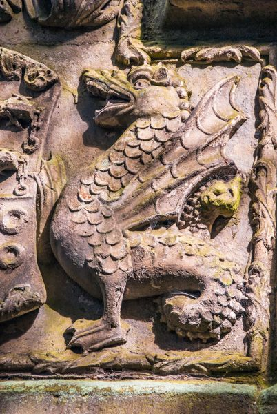 Skipton Castle photo, Dragon on Clifford crest