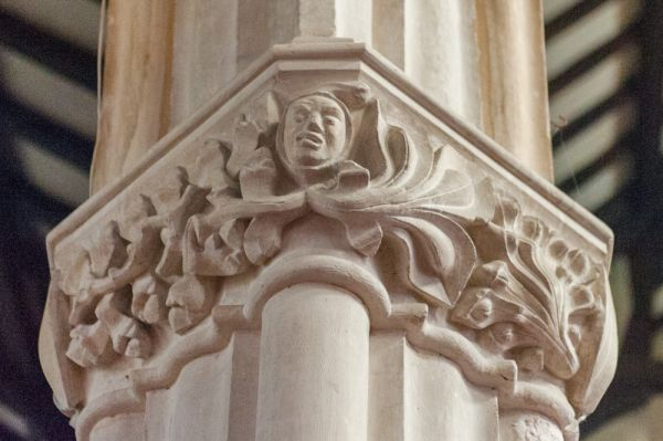 South Molton, St Mary Magdalene Church photo, A grimacing face amid foliage