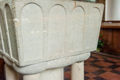 Southleigh, St Lawrence Church, Closeup of the blind arcading on the font
