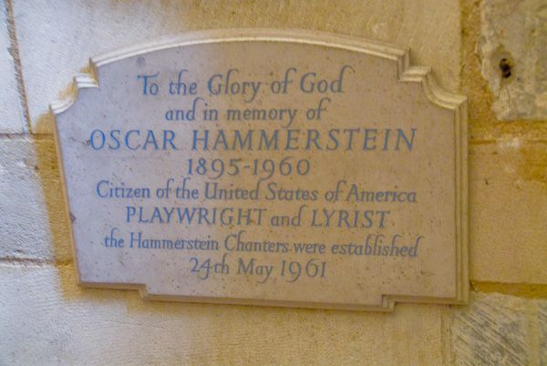 Southwark Cathedral photo, Oscar Hammerstein plaque