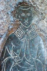 Medieval brass in the chancel