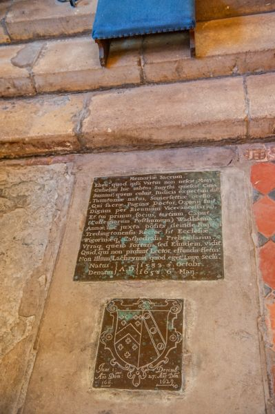 Spetchley, All Saints Church photo, Memorial brass to William Smythe (d 1653)