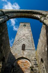 Looking up at St Rule's Tower