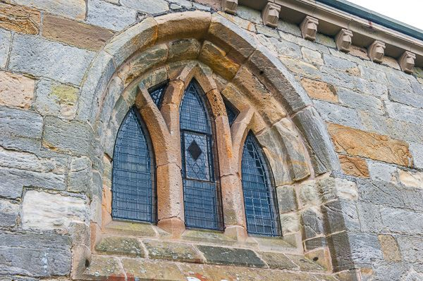 Douglas, St Brides Church photo, Medieval window in the north wall