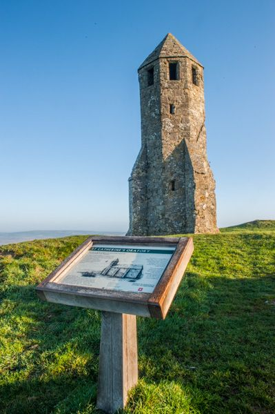St Catherine's Oratory photo, National Trust information panel and the tower