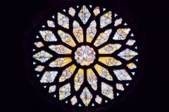 The great rose window in the east wall