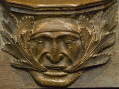 Green man misericord in the quire