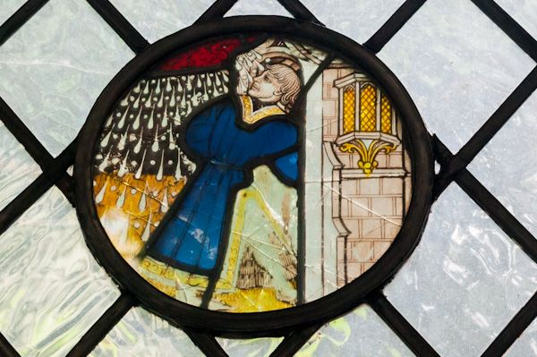 St George Tombland photo, Medieval stained glass roundel, south aisle