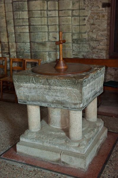 St Germans Priory Church photo, 13th century Purbeck marble font