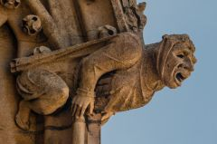 Grotesque carving on the tower