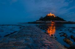 The causeway to St Michael's Mount at night