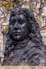 Samuel Pepys statue opposite the church