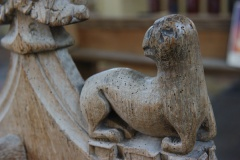 Carved medieval bench end