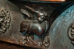 Misericord carving of a unicorn
