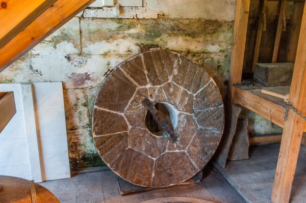 Stanway Watermill photo, A disused grind stone