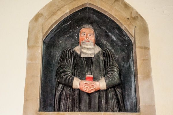 Steeple Langford, All Saints Church photo, Joseph Collier painted wooden effigy