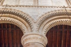 The beautifully carved Norman arcade in Steyning church