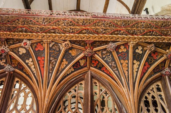 Hartland, St Nectan's Church photo, Detail of the 15th century chancel screen