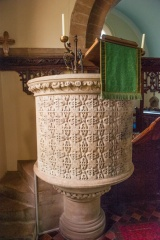 The finely carved Victorian pulpit, c. 1864