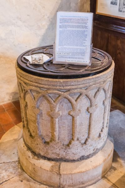 Stoke Orchard, St James the Great Church photo, The Norman tub font