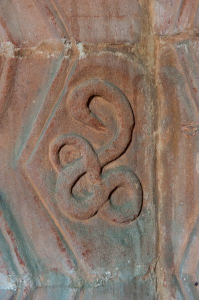 Stoneleigh, St Mary's Church photo, 12th century serpent carving