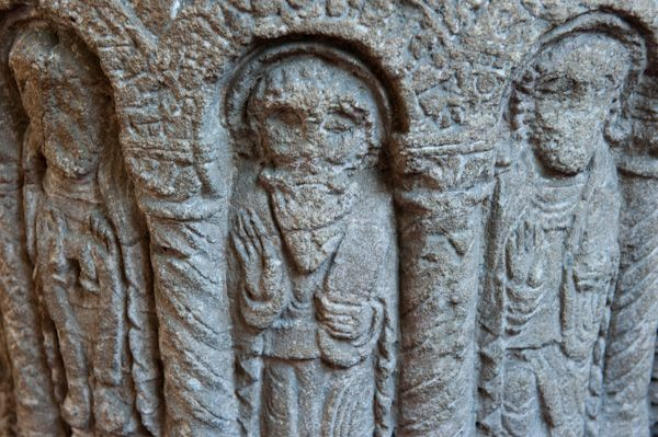 Stoneleigh, St Mary's Church photo, Norman font carving detail