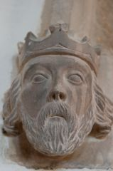 Carved king's head