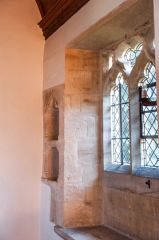 Chancel, 12th century piscina and 13th century credence shelf
