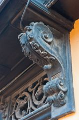 Carved cornice on the porch