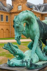 Stratfield Saye, Horse and dragon statue before the entrance