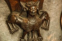 <A grotesque medieval misericord carving