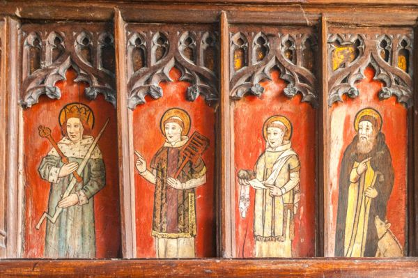 Strensham, St John's Church photo, Painted panel on the medieval gallery