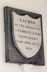 Sutton Veny, St Leonards Church, Anthony Long memorial, 1676