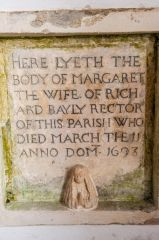 Sutton Veny, St Leonards Church, Margaret Bayly memorial, 1693