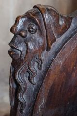 Carved head, 15th century reading desk