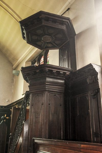 Tabley House photo, The 17th century pulpit and sounding board