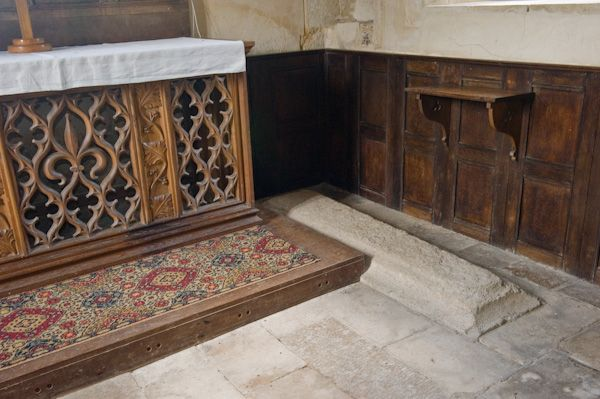 Tarrant Crawford, St Mary's Church photo, Queen Joan of Scotland grave slab beside the altar