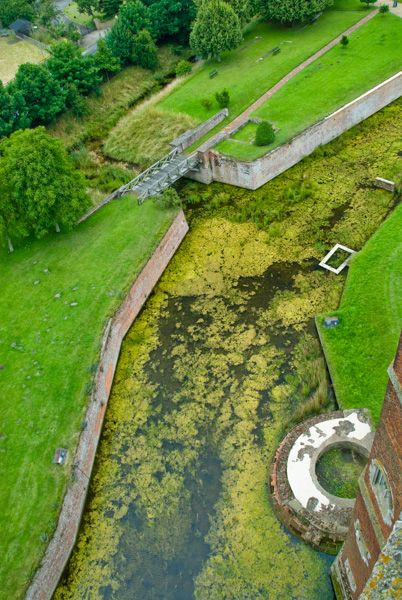 Tattershall Castle photo, Looking down into the moat
