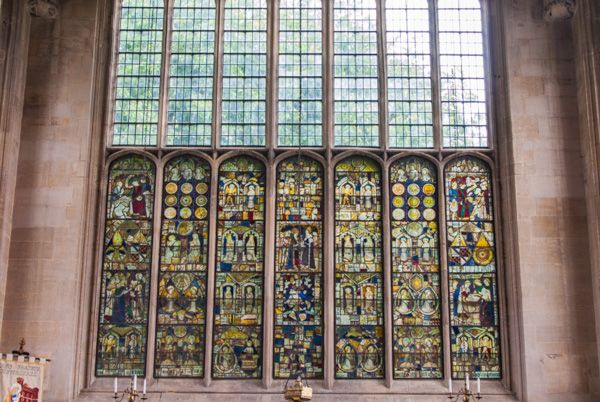 Tattershall Church photo, The east window and medieval stained glass