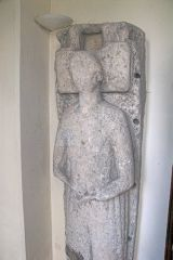 A medieval effigy inside the church