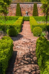 Walled garden brick path