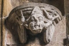 Tideswell, St John the Baptist Church, Carved head under a statue niche