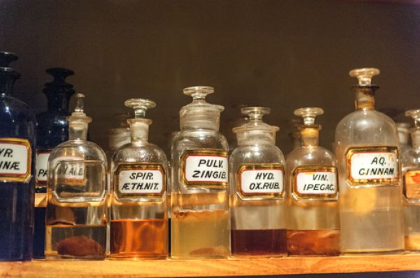 Timespan photo, Glass bottles in the village shop